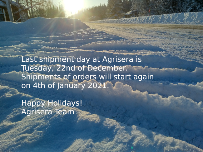 Shipment days from Agrisera at the end of the year 2020