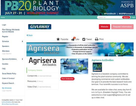 Agrisera at PlantBiology20 Worldwide virtual summit