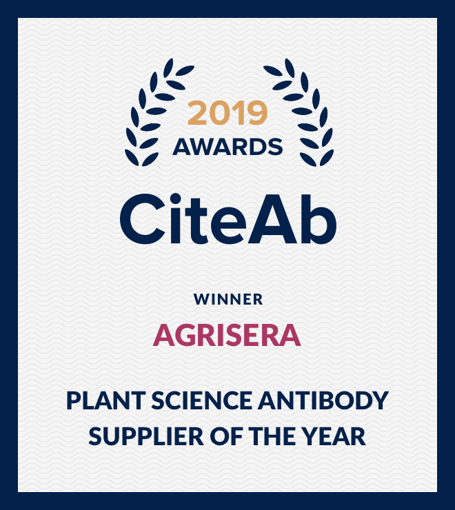 Agrisera award The Best Antibody Supplier in Plant Science